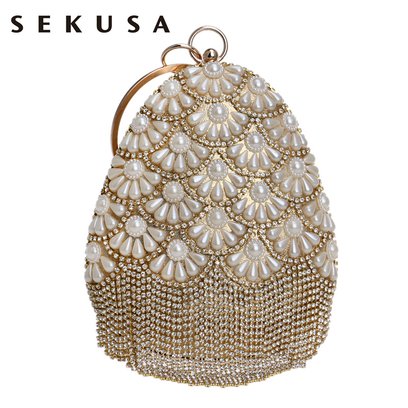 SEKUSA Fruit Bucket Shaped Women Evening Bags Beaded Lady Tassel Rhinestones With Diamonds Clutch Pearl Wedding Handbags<br>
