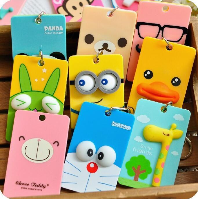 PVC Badge Holder &amp; Accessories ID card holder Credit Card Bus card case Cartoon minions Panda Doraemon monster stationery badge<br><br>Aliexpress