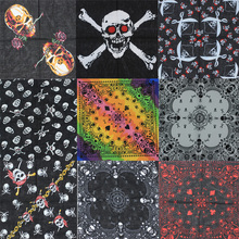 2017 New Design Fashion Hip Hop 100% Cotton Skull Bandana Square Scarf Black Paisley Bicycle Headband For Women/Men/Boys/Girls