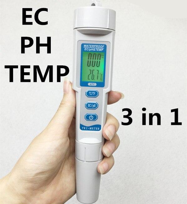5pcs/lot Potential Digital Waterproof 0.01 3 in 1 ph tester EC meter Water Quality Analyser TEMP temperature Monitor Acidometer<br><br>Aliexpress