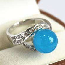 elegant lady's silver plated with crystal decorated &12mm blue jades  ring(#7 8 9 10)