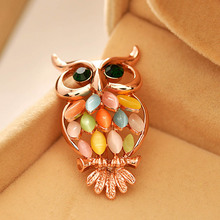 Color Rhinestone Oowl Brooches and pins for women personalized design cute korean style brooches wedding jewelry