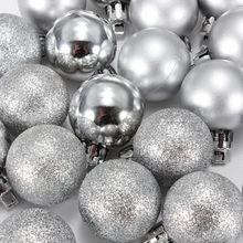 24Pcs Chic Christmas Baubles Tree Plain Glitter XMAS Ornament Ball Decoration Silver(China)