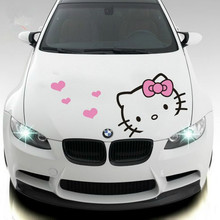 KT cat hello kitty cover car sticker cartoon cute pull flower head cover car body decoration car sticker(China)