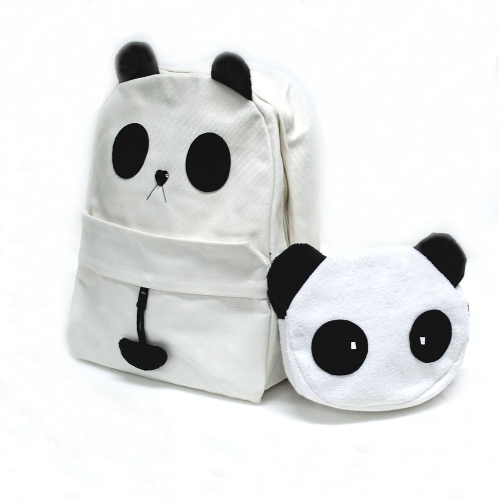 1pc Canvas Girl Women Backpack With Panda Canvas School Bag For Teenagers Fashion White Student  Bag  -- BIA109 PR30 Wholesale<br><br>Aliexpress
