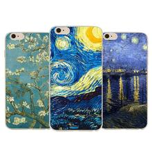 2016 Top Quality Vincent Van Gogh Starry Sky Oil Painting For Iphone 6 6s 4.7 Back Design Vintage Art Painted Pattern Phone Case(China)