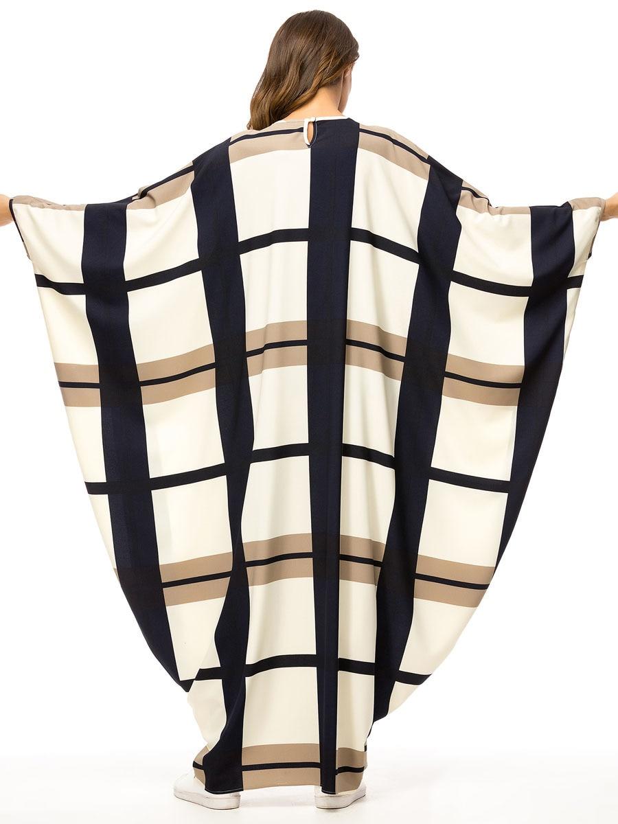 Dropship Bat Shape Dressing Gowns For Women Fashion Plaid Color Block Muslim Robes Oversized Bat Sleeve Maxi Dresses Big Size