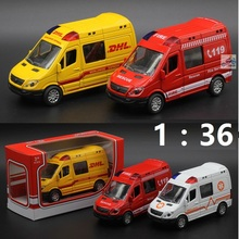 Hot sales Metal Pull Back Alloy Ambulance Cars Motor Racing /Fire Engine Model toys children's Educational Gift Musical,Flashing(China)