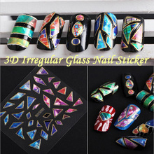 2017 New Korea 3D Nail Sticker Explosions Irregular Broken Glass Mirror Foil Nail Sticker Decoration Tools