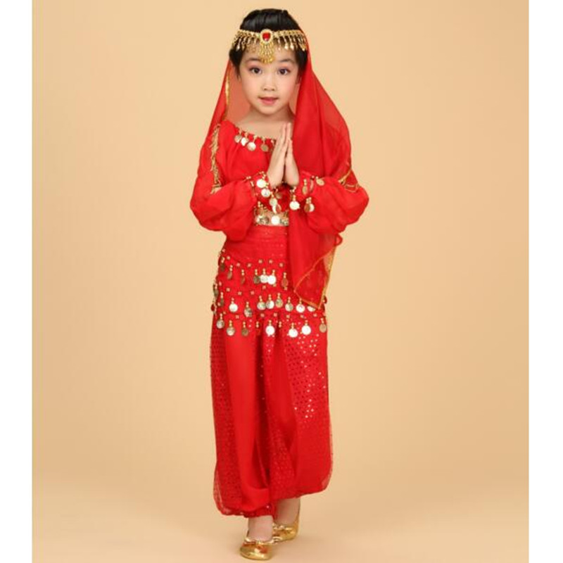 Gorgeous Girls Indian Dance Costume Clothes Trousers Headwear Veil Belt Bracelet Six-piece High Quality Chiffon Children Suit<br><br>Aliexpress