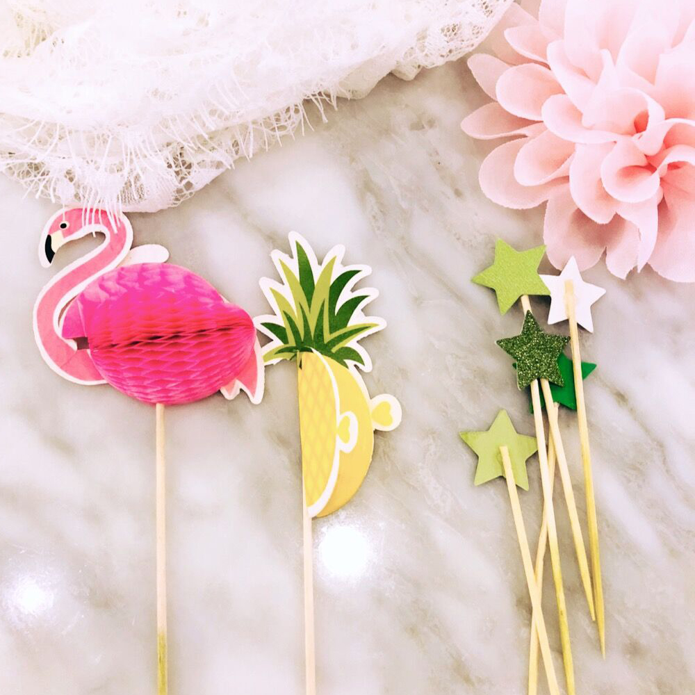 NEW 10pcs Stereo Pineapple Flamingo Fruit Toothpick Flower Sign Wedding Party Decoration Easter Home Decoration Accessories (7)
