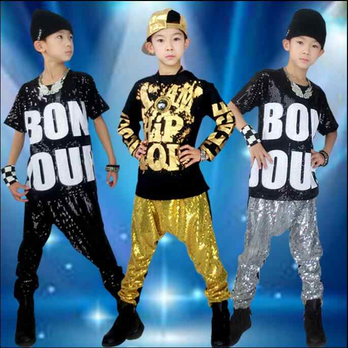 39d51b66ec4d1 Moda Boy Girl Hip Hop danza moderna Jazz Hip-Hop Top y pantalones Harem ropa