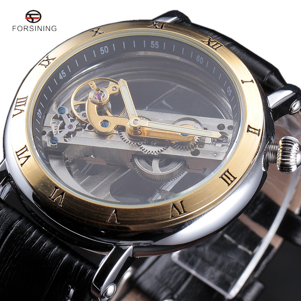 2017 FORSINING Fashion Watches Men Luxury Roma Case Transparent Skeleton Automatic Mechanical Leather Strap Antique Wristwatch<br>