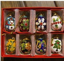 Wholesale 10pcs Chinese Handmade Classic Cloisonne/Enamel Egg Ornament for christmas or other festival decoration(China)
