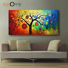hand-Painted modern abstract canvas wall art oil painting Apple money tree  on canvas huge house unique gift decoration photos