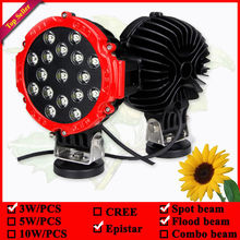 4x4 led work lamp Red round 7inch 12V 51W IP67 Led driving light 17leds led fog lamp used for car truck suv