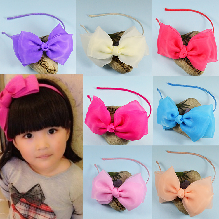 2015 boutique hair bows childrens hair bands lace chiffon princess student hoop for hair girls hair accessories<br><br>Aliexpress