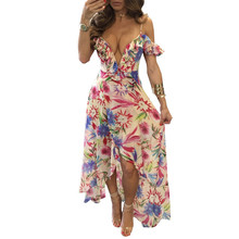 Dress Women 2017 Graffiti Flowers Printing Chiffon Vestidos Mujer S-3XL Strapless Ruffled Sleeves Deep V-neck High-waist Dresses(China)