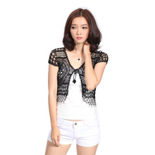 2016 New Fashion Women Shrugs Women Short Sleeve Cardigan Hollow Out Open Stitch Crochet Lace Shrug Sweater 5242