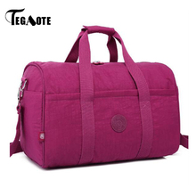 TEGAOTE 9 Colors Nylon Waterproof Large Capacity Travel Bags Women Duffle Bags Solid Casual Tote Bolsas Luggage Black Chocolate