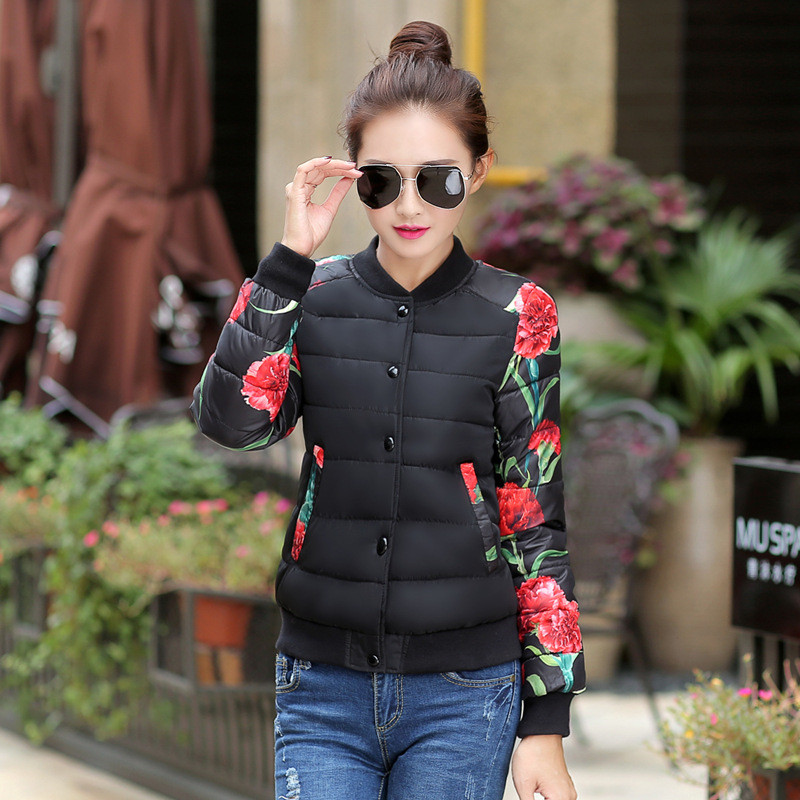 Hot New Fashion cotton jacket Flower pattern Winter Jacket Women thick Snow Wear Coat Lady Clothing Female Jackets 5 colorsWWF31Одежда и ак�е��уары<br><br><br>Aliexpress