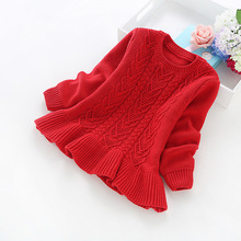 2016 new winter children's clothing girls solid color cotton knit sweaters girls' cotton sweaters b8019