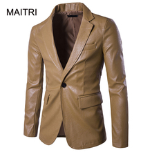 MAITRI 2017 New PU Leather blazer masculino Fashion Solid Single Button Black White Red Khaki men blazer hombre coat