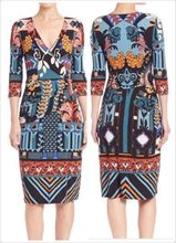 Autumn, women's Italy fashion beautiful printed stretch knit fashion half sleeve slim dress