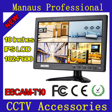 10 inch TFT LCD CCTV Monitor with VGA HDMI AV BNC USB for PC CCTV Security Support Image Fluctuation Reversal Control ESCAM T10