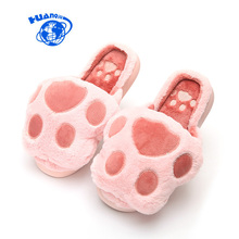2017 New Women Winter Slippers Puppy Foot Print Design Super Cute Home Slippers Female Shoes Warm Fur Bear Paw Slippers #36-41(China)