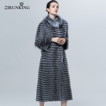 ZIRUNKING Autumn Winter Luxury X-Long Style Real Silver Fox Fur Coat Natural Color Fur Collar Stripped Syle Outerwear ZCW-18YL(China)