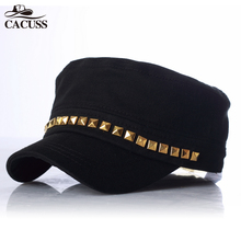 Cacuss Brand army hats high quality men women sexy army caps customized logo simple design flat caps best gifts for friends caps(China)