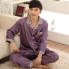 Men Pajama Sets Silk Satin Nightwear Sleepwear Pajamas Loungewear Pajama Pyjamas Set L-3XL Long Sleeve Two-Piece Suit