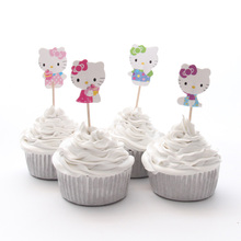 24pcs/lot Hello Kitty Theme Party Supplies Cartoon Cupcake Topper Kids Boy Birthday Party Decorations