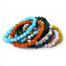 8mm White Pink Blue Purple Colorful Glass Beads Bracelet & Bangles for Fashion Jewelry