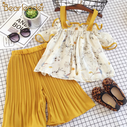 Bear leader/комплекты одежды для девочек Одежда для девочек модный топ с короткими рукавами + широкие штаны в полоску детская одежда