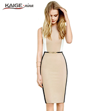 Kaige.Nina Women Summer Elegant Belted Hit color Patchwork Tunic Work Business Casual Party Bodycon Pencil Sheath Dress 2057(China)