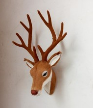 Simulation Deer head polyethylene&furs Deer head model funny gift about 27*18CM(China)