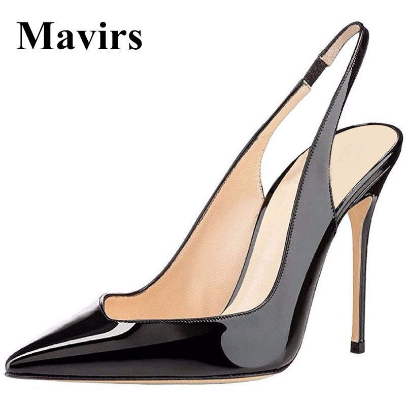 MAVIRS Brand High Heels Women Pumps 2018 Spring Sexy Point Toe Patent Black Blue White Nude Rose Wedding Shoes US Size 5-15<br>