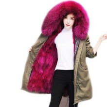 Luxury Women top quality natural real big raccoon fur collar hooded coat genuine fur lining Brand Parka Army Green Jacket 3XL(China)