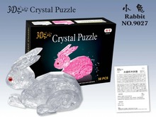 Candice guo! New arrival hot sale plastic toy 3D crystal puzzle rabbit bunny model funny game creative gift 1pc