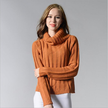 European Style orange thick high quality pullover 2017 autumn and winter loose high collar women's round neck bottoming sweater