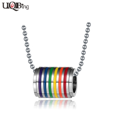 Promotion Gifts Fashion Cylindrical Pendant Necklace Ball Beads Chain Necklaces For Men Gay Pride Lesbian Rainbow Jewelry