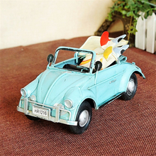 HAOCHU Metal Convertible Car Model Diecast Vintage Classic Cars Alloy Toys Head to Beach Surfboard for Kids Adults Desk Decor
