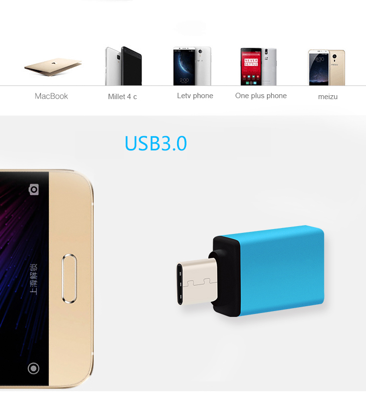 4Type C Adapter OTG USB 3.0 Cable Adapter Converter Charger Plug Converter Male to Female For Samsung Galaxy Note8 MacBook Pro5