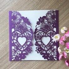 50 шт./лот квадратный Свадебные Пригласительных билетов комплект свадьба сердце любовь лазерная резка Свадебная вечеринка карточному столу...(China)
