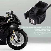 C823B Dual USB Motorcycle Charger 1A 1.1A Power Adapter EU Plug to USB for BMW Motorcycle(China)