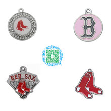 Skyrim 10pcs Sport style enamel bronze and antique silver plated Boston Red Sox baseball team logo charms jewelry