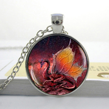 Fire Dragon Necklace Handmade glass dome Jewelry art Photo Pendant Dragon Jewelry game of thrones dragon necklace HZ1