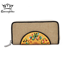 Chinese style embroidery PU Leather Women Wallets Zipper Long Wallet Girls Female Purses Wallet Long Ladies Clutch Coin Purse